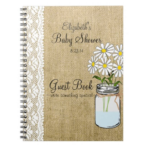 Mason Jar and Lace Image-Baby Shower Guest Book- Note Books
