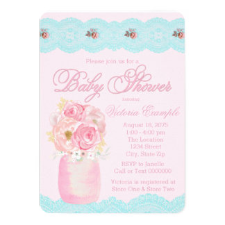 Mason Jar and Lace Watercolor Floral Baby Shower Card