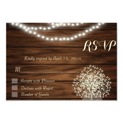 Mason jar and lights RSVP Card Personalized Invitation