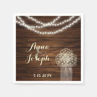 Mason jar and lights Wedding Napkin