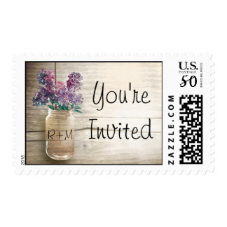 mason jar and lilacs postage stamps