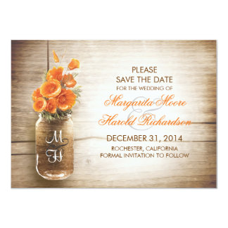 Mason jar and orange flowers save the date cards announcement