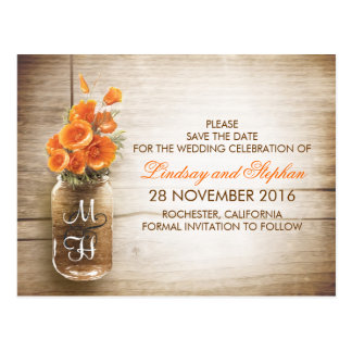 mason jar and orange flowers save the date postcard