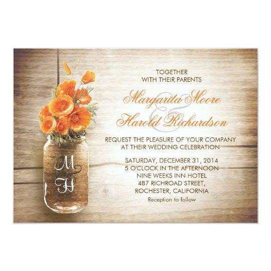 Wedding Invitations Mason Jar: Mason Jar And Orange Flowers Wedding Invitations