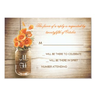 Mason jar and orange flowers wedding RSVP card