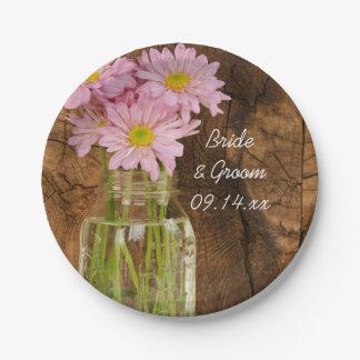 Mason Jar and Pink Daisies Country Barn Wedding Paper Plate