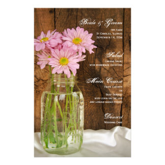 Mason Jar and Pink Daisies Country Wedding Menu Customized Stationery