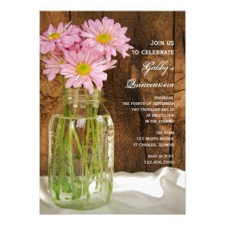 Mason Jar and Pink Daisies Quinceañera Invitation