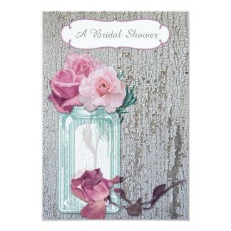 Mason Jar and Pink Roses Bridal Shower Card