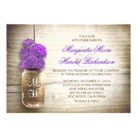 Mason jar and purple flowers wedding invitations