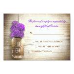 Mason jar and purple flowers wedding RSVP card