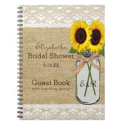 Mason Jar and Sunflower Bridal Shower Guest Book |
