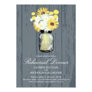Mason Jar and Sunflowers Rehearsal Dinner Card