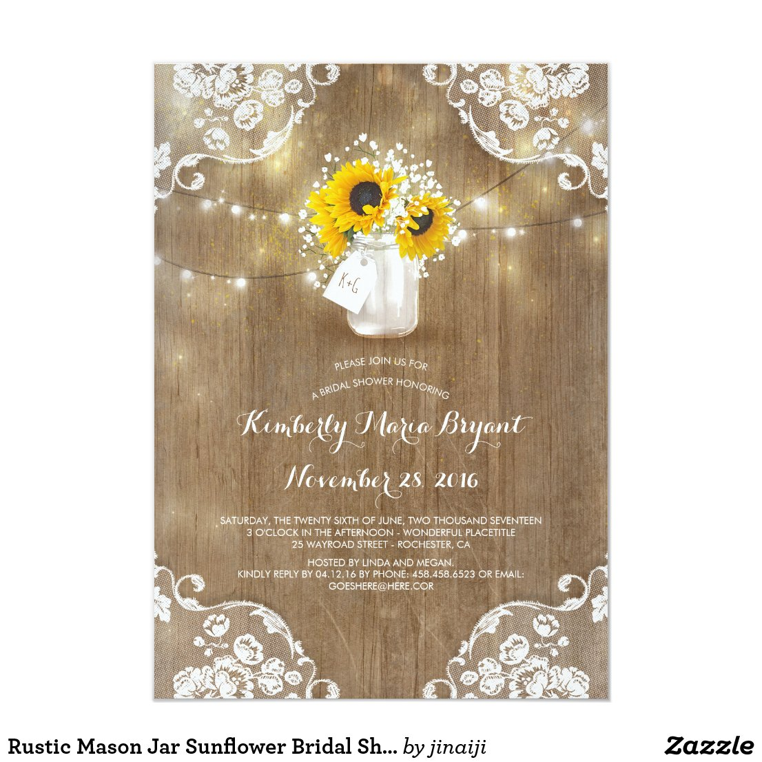 Mason Jar and Sunflowers Rustic Bridal Shower