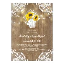 Mason Jar and Sunflowers Rustic Bridal Shower Card