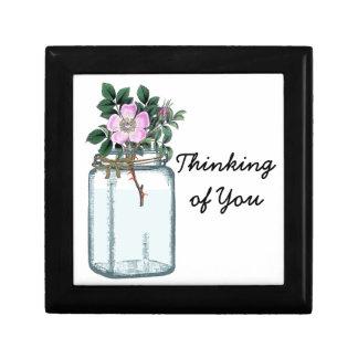 Mason Jar and Vintage Rose Thinking of you Giftbox Gift Box