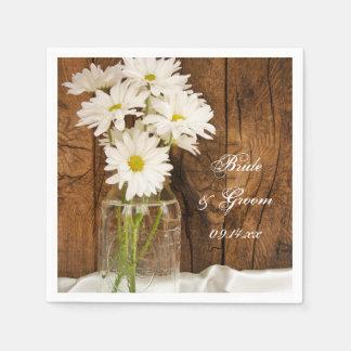 Mason Jar and White Daisies Barn Wedding Napkin