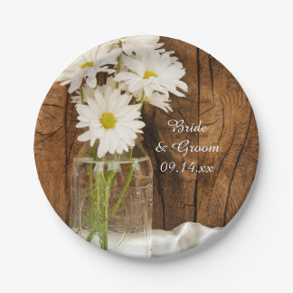Mason Jar and White Daisies Barn Wedding Paper Plate