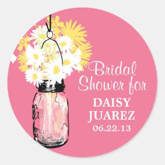 Mason Jar and White Daisies Bridal Shower Round Stickers