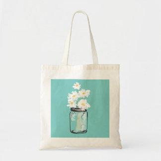 Mason Jar and White Daisies Canvas Bags