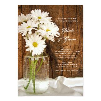 Mason Jar and White Daisies Country Barn Wedding 5x7 Paper Invitation Card