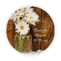 Mason Jar and White Daisies Country Barn Wedding Edible Frosting Rounds