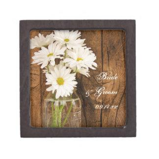Mason Jar and White Daisies Country Barn Wedding Keepsake Box