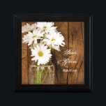 """Mason Jar and White Daisies Country Barn Wedding Keepsake Box<br><div class=""""desc"""">The personalized Mason Jar and White Daisies Country Wedding Gift Box makes a lovely keepsake gift for the bride or her bridesmaids and bridal party. This pretty custom rustic chic marriage gift box features a quaint digitally enhanced floral photograph of a glass canning jar filled with white daisy flower blossoms...</div>"""
