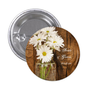 Mason Jar and White Daisies Country Barn Wedding Pinback Button