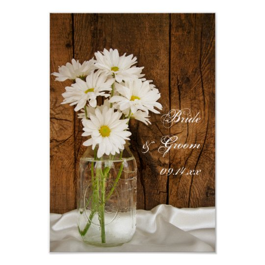 Mason Jar and White Daisies Country Barn Wedding Poster