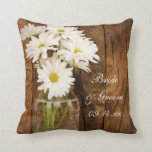 "Mason Jar and White Daisies Country Barn Wedding Throw Pillow<br><div class=""desc"">Create a unique gift for a bridal shower or marriage when you personalize the charming Mason Jar and White Daisies Country Barn Wedding Pillow with the names of the bride and groom and marriage ceremony date. This casual yet classy custom rustic chic nuptial pillow features a quaint floral photograph of...</div>"