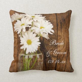 Mason Jar and White Daisies Country Barn Wedding Throw Pillow