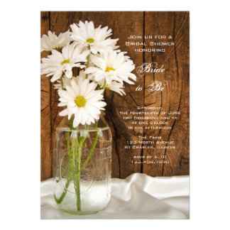 Mason Jar and White Daisies Country Bridal Shower Cards