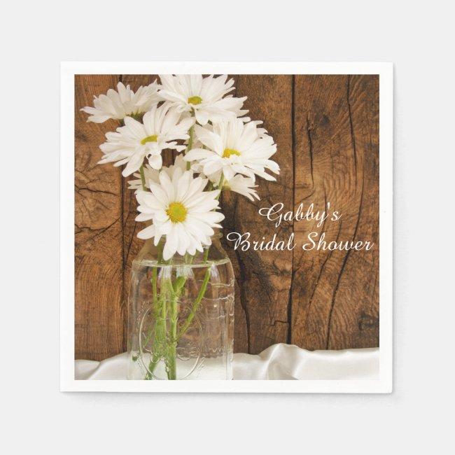 Mason Jar and White Daisies Country Bridal Shower Paper Napkins