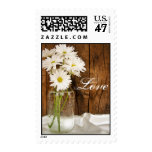 Mason Jar and White Daisies Country Wedding Love Postage