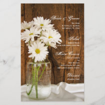 Mason Jar and White Daisies Country Wedding Menu