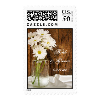 Mason Jar and White Daisies Country Wedding Postage
