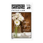 Mason Jar and White Daisies Country Wedding Postage Stamps