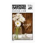 Mason Jar and White Daisies Country Wedding RSVP Postage Stamp