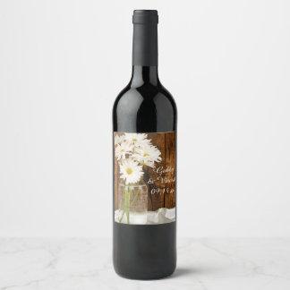 Mason Jar and White Daisies Country Wedding Wine Label