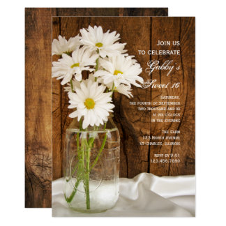 Mason Jar and White Daisies Sweet 16 Party Invite