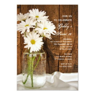 "Mason Jar and White Daisies Sweet 16 Party Invite 5"" X 7"" Invitation Card"