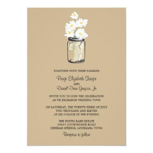 Mason Jar  and White Daisies Wedding Card