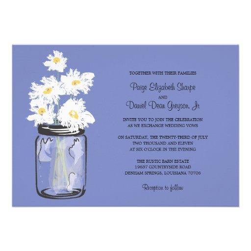 Mason Jar  and White Daisies Wedding Personalized Invites