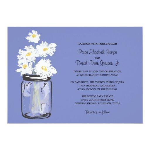 Mason Jar  and White Daisies Wedding 5x7 Paper Invitation Card