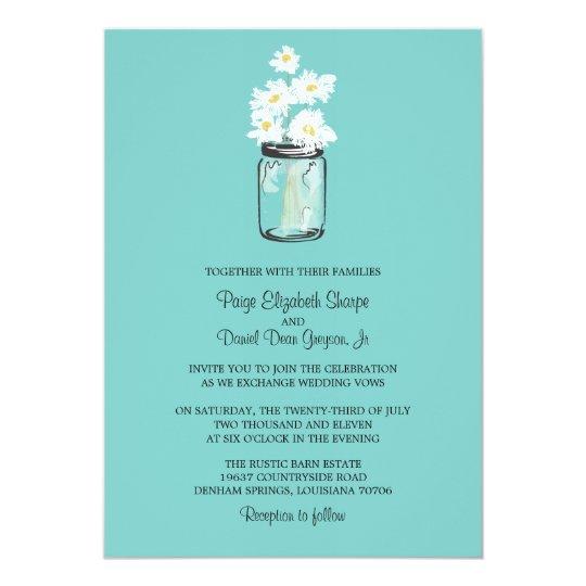 White Daisy Wedding Invitation: Mason Jar And White Daisies Wedding Invitation