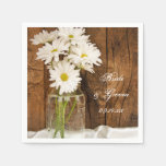 Mason Jar and White Daisies Wedding Paper Napkins