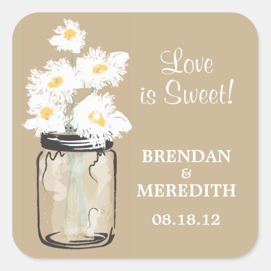 Mason Jar and White Daisies Wedding Square Sticker