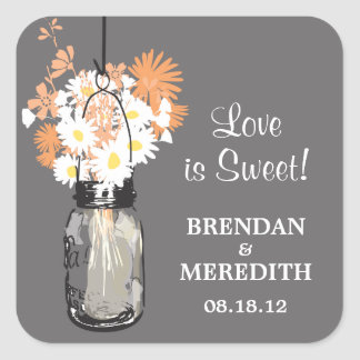 Mason Jar and White Daisies Wedding Square Stickers
