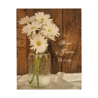 Mason Jar and White Daisies Wedding Wood Canvas